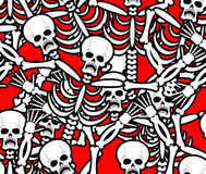 Hell seamless pattern. Skeleton in Sinners background. Ornament Royalty Free Stock Photos