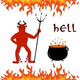 The hell set. Illustration on the theme of hell - fire, heck and the boiler Royalty Free Stock Photography