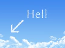 Hell sign on Cloud shaped Royalty Free Stock Image