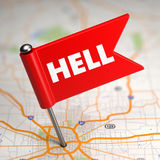 Hell - Small Flag on a Map Background. Stock Photography