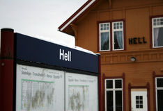 Hell station. The trainstation in Hell, Norway Royalty Free Stock Images
