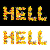 Hell text. fire letters. Skeletons in inferno. Sinners in Gehenn Stock Image