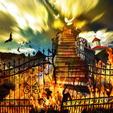 From Hell to Heaven. Stairway Concept with Gates on Fire Stock Image