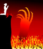 Hell-vector. Satan hand in hell -Lake of Fire Stock Photo