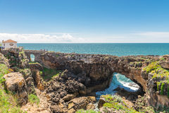 The Hell's Mouth chasm located in Cascais. Royalty Free Stock Photo