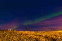 Hella & Aurora. Iceland Aurora Boreal In Hella Stock Photos