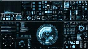 Hellblaue futuristische Schnittstelle/Digital-Schirm lizenzfreie abbildung