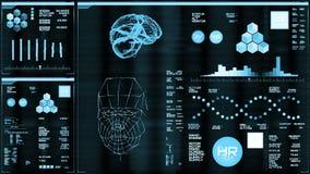 Hellblaue futuristische Schnittstelle/Digital screen/HUD stock abbildung
