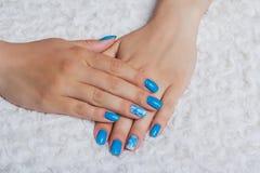 Hellblaue Nagelkunst mit Blumen auf Gewebe Lizenzfreie Stockfotografie