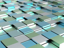Hellblaue und grüne Würfel des abstrakten Hintergrundes - vektor abbildung