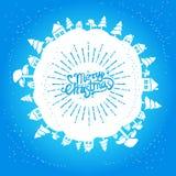 Hellblaue Weihnachtskarte Lizenzfreies Stockfoto