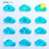 Hellblaue Wolken mit Wetter-Zeichen lizenzfreie abbildung
