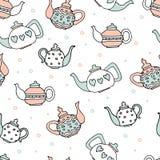 Hellblauer und rosa Farbsatz von vier netten Teekannen stock abbildung
