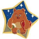 Hellbrauner Bär mit Blumen und Herzen Stock Abbildung
