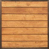 Hellbrauner Holztisch der Weinlese mit Eisenrahmen Stockfotos