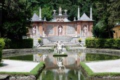 Hellbrunn Gardens in Salzburg, Austria. A water feature in Hellbrunn Gardens in Salzburg, Austria Stock Photo