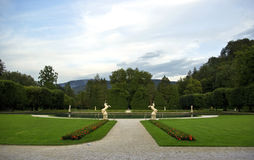 Hellbrunn Park. Hellbrunn summer palace in salzburg, austria, park entrance with two horse statues stock photo