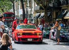 Hellcat americano dello sfidante SRT di Dodge del muscolo fotografia stock