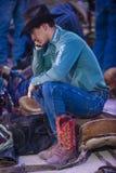 Helldorado days Rodeo. LAS VEGAS - MAY 16 : Cowboy preparing for the Helldorado days Rodeo , A professional rodeo held in Las Vegas, Nevada on May 16 , 2014 Royalty Free Stock Photo