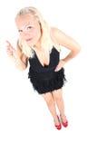 Helle Abbildung der jungen Blondine im schwarzen Kleid Lizenzfreie Stockfotografie