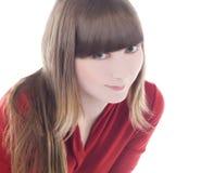 Helle Abbildung der reizenden Frau im roten Kleid Stockbilder