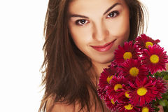 Helle Abbildung des reizenden Mädchens mit Blume Lizenzfreie Stockbilder