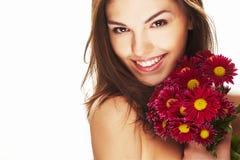Helle Abbildung des reizenden Mädchens mit Blume Lizenzfreie Stockfotos