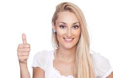 Helle Abbildung von blondwoman mit den Daumen oben Stockbild