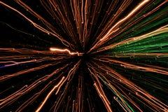 Helle Anzeige, farbiger Laser, heller Tunnel der Unendlichkeit Stockfotografie
