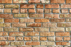 Helle ausgeprägte Beschaffenheit des alten Ziegelsteines auf der Wand Stockfoto