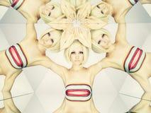 Helle Blondine im Kaleidoskop Stockfoto