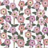 Helle Blumen auf einem nahtlosen Muster des grünen Hintergrundes Lizenzfreie Abbildung