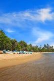 Helle Boote auf dem tropischen Strand von Bentota, Sri Lanka lizenzfreie stockfotografie