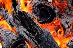 Helle brennende Kohlen und Holz Stockbild