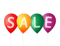 Helle bunte Ballone Freie Marke mit rotem Farbband Ballonverkaufsfahne Vektorballone lokalisiert Bunter Verkaufshintergrund Lizenzfreie Stockfotografie