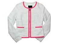 Helle bunte Jacke der Frau lokalisiert auf Weiß. Stockfotografie