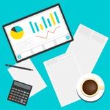 Helle einfache begrifflichillustration in der modischen flachen Art bezüglich des Geschäfts morgens für Gebrauch im Design Stockfotos