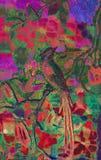 Helle exotische Vogel-Abbildung Stockbild