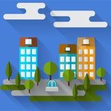 Helle farbige Illustration mit grafischen Stadthäusern der Karikatur mit langen Schatten für Gebrauch im Design lizenzfreie abbildung