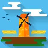 Helle farbige Illustration mit Karikaturwindmühle und -weizen in der modischen flachen Art mit langen Schatten für Gebrauch im De Lizenzfreies Stockbild