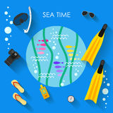 Helle farbige Illustration mit modischen langen Schatten im Urlaub und Restthema lizenzfreie abbildung