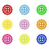 Helle Farbknöpfe Stellen Sie von den Knöpfen für Kleidung ein Auch im corel abgehobenen Betrag ENV 10 stock abbildung