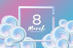 Helle flüssige blaue Blumen Purpur am 8. März Glücklicher Frauen ` s Tag Mutter`s Tag text Quadratischer Rahmen 3d Nahaufnahme de Stockbild