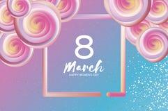 Helle flüssige rosa Blumen Purpur am 8. März Glücklicher Tag der Frauen s Tag der Mutter s text Quadratischer Rahmen 3d Nahaufnah Lizenzfreies Stockfoto