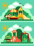 Helle flache zwei Konzepte des Kinderspielplatzes lizenzfreie abbildung