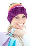 Helle Frauenholding-Einkaufenbeutel Lizenzfreies Stockfoto
