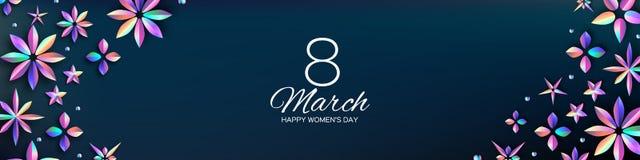 Helle ganz eigenhändig geschriebe Blumen Fahne der glücklichen Frauen Tages International am 8. März Modischer Mutter-Tag Moderne stock abbildung