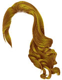 Helle gelbe Farben der modischen langen Perücke der gelockten Haare der Frau retro stock abbildung