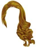 Helle gelbe Farben der modischen langen Perücke der gelockten Haare der Frau Retro- St. lizenzfreie abbildung