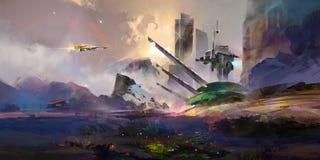 Helle gemalte fantastische Landschaft der Zukunft Stockfotos